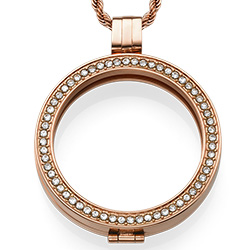 Rose Gold Plated Coin Locket with Cubic Zirconia