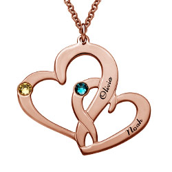 Rose Gold Plated Heart in Heart Necklace