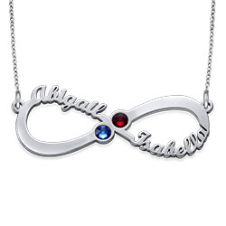 Personalized Infinity Necklace with Birthstones