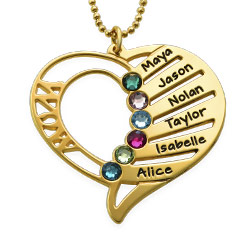 Engraved Mother Heart Necklace in Gold Plating