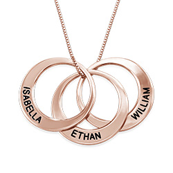 Multiple Ring necklace In Rose Gold Plating
