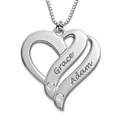 Two Names Heart Diamond Necklace