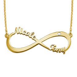 Gold Plated Personalized Infinity Diamond Necklace