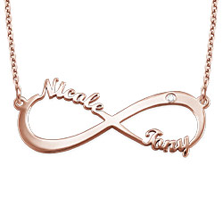 Rose Gold Plated Personalized Infinity Diamond Necklace