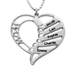 Engraved Mother heart necklace with diamonds in sterling silver