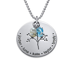 Family Tree Necklace with Freshwater Pearl