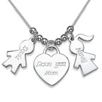 Kids Charm Necklace with Love You Mom Heart Pendant