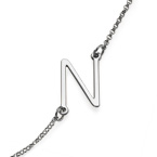 Sideways Initial Necklace in Sterling Silver