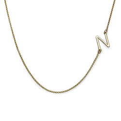 Sideways Initial Necklace in Gold Plating