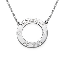 Silver Personalized Karma Necklace with Birthstones
