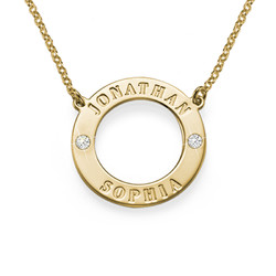 Gold Plated Personalized Karma Necklace with Crystals
