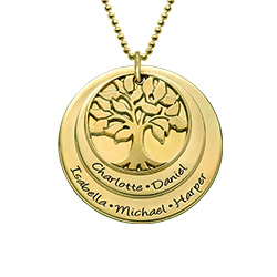Multiple Discs Family Tree Necklace in Gold Plating