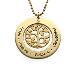 Cut Out Family Tree Necklace in Gold Plating