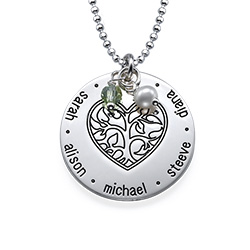 Engraved Heart Family Tree Necklace