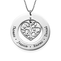 Cut Out Heart Family Tree Necklace