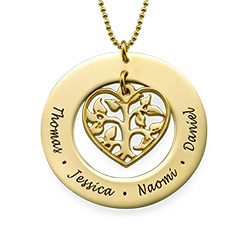 Gold Plated Cut Out Heart Family Tree Necklace
