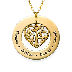 10K Gold Cut Out Heart Family Tree Necklace