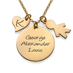 Engraved Disc with Child Charm in Gold Plating