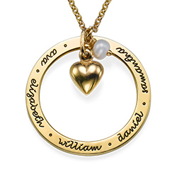 Gold Plated Forever Engraved Circle Necklace