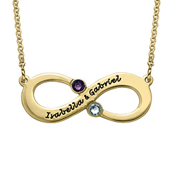 Gold Plated Engraved Infinity Necklace with Birthstones