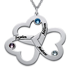 Personalized 3 Hearts Necklace