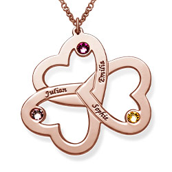 Rose Gold Plated Personalized 3 Hearts Necklace