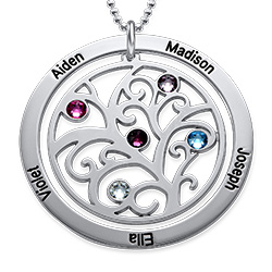 Personalized Birthstone Family Tree Necklace