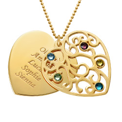 Gold Plated Heart Family Tree Necklace