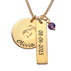 Baby Feet Charm Necklace with Birthstone in Gold Plating