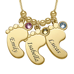 Multiple Baby Feet Necklace in Gold Plating