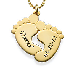 Engraved Baby Feet Necklace in 18k Gold Plating
