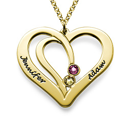 Engraved Heart Necklace in Gold Plating