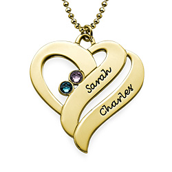 Two Names Heart Necklace in Gold Plating