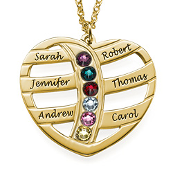 Engraved Gold Heart Necklace with Birthstones