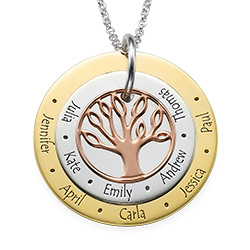 3 Colors Personalized Family Tree Necklace