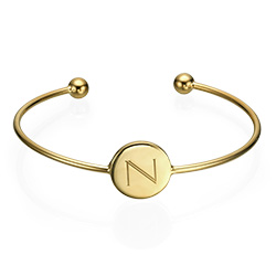 Forever Initial Bangle in Gold Plating