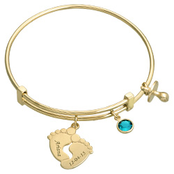 Adjustable Baby Feet Bangle in Gold Plating