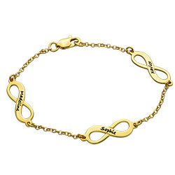 Gold Plated Multiple Names Infinity Bracelet