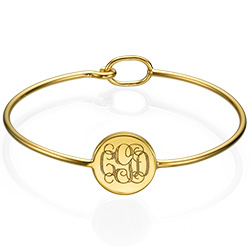 Forever Monogram Bangle in Gold Plating