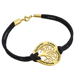 Heart Family Tree Bracelet in Gold Plating