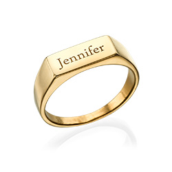 Bar Name Ring in Gold Plating