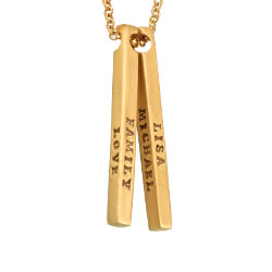 3D Bar Gold Plated Necklace