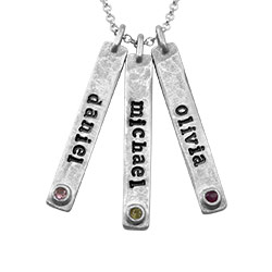 Vertical Bar Sterling Silver Necklace With Birthstone