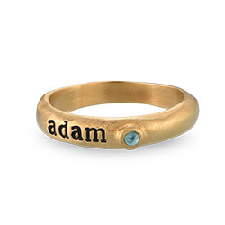 Birthstone Stackable Gold Plated Stamped Ring